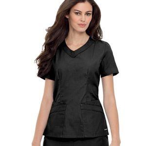 Landau Women's Black Rounded V-Neck Tunic Scrub